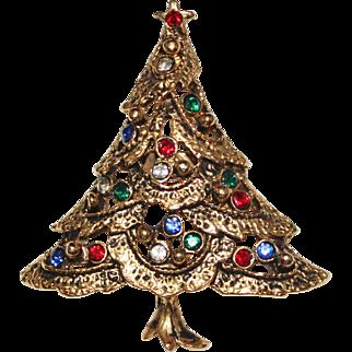 1960's Vintage Gold Multi Colored Rhinestone Christmas Tree Figural Brooch Pin