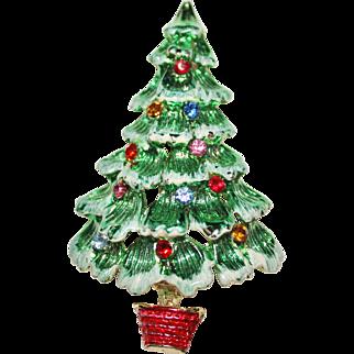 FESTIVE Vintage 1960's Metallic Green Enamel Rhinestone Christmas Tree Brooch