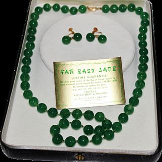 Vintage MIRIAM HASKELL 14k Far East Jade Necklace, Earrings Set W/Box, HTF