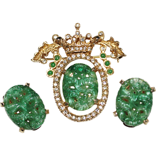 Vintage DENICOLA Carved Faux Jade Art Glass Rhinestone Crown Brooch Earrings Set