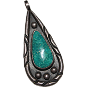 Vintage 1970's Navajo Indian Signed HEB Turquoise Sterling Pendant, 14 Grams