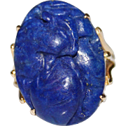 Vintage CHINESE 14k Yellow Gold Carved Blue Lapis Lazuli Phoenix Ring, Size 9 1/2