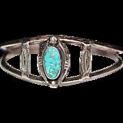 Vintage NAVAJO Indian Sterling & Turquoise Cuff Bracelet