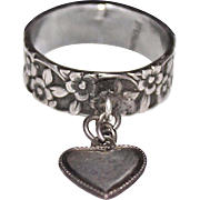 Vintage 1940's WWII Sterling Silver Forget Me Not Heart Charm Ring, Size 5