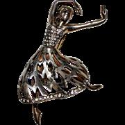Vintage 1940's Sterling Silver Rhinestone Figural Ballerina Dancer Brooch Pin