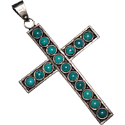 Vintage Sterling Snake Eye Turquoise Cross Pendant, Mexico Eagle 2 Signed TC