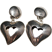 Vintage 1994 Brenda Schoenfeld Sterling 3-D Heart Dangle Earrings, 32 Grams, Mexico