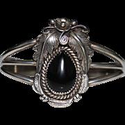 Willie Saiz Navajo Indian Sterling Silver Black Onyx Cuff Bracelet, 29.4 Grams