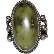 Nice Vintage Fred Harvey Era Sterling Green Turquoise Stamped Ring, Size 6.75