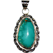 Navajo Indian Beautiful Teal Turquoise SILVER RAY Sterling Silver Pendant, 20.3G