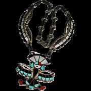 Vintage ZUNI Juan & Charlene CHICO Cheeku Inlay Kachina Necklace, Turquoise Jet