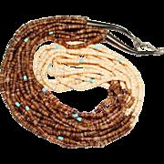 Vintage Sterling SANTO DOMINGO Indian Light Dark Heishi Shell Turquoise Necklace