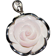 Elegant Sterling Silver Carved Pink Cameo Shell Rose Pendant
