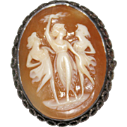 Turn of The Century Antique Carved Cameo Shell Filigree Silver Ring The 3 Graces