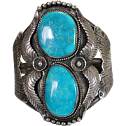 Vintage SIGNED Navajo Indian Double Turquoise Sterling Cuff Bracelet, 87.3 Grams