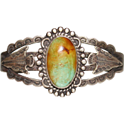 FRED HARVEY Era Turquoise Arrowhead Cuff Bracelet Silver Products Coin Silver