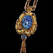 Superb Art Deco Blue Speckled Art Glass Reversible Griffin Necklace, Fancy Chain