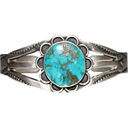 Vintage 1970's Native American Navajo Indian Turquoise Sterling Cuff Bracelet