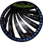 Art Deco Celluloid Enamel Rhinestone Brooch, Large Dress Button Sash Button