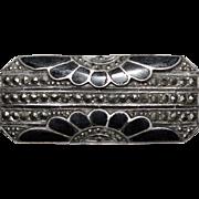 Very Cute Vintage Sterling Silver Marcasite & Black Enamel Sunflowers Brooch Pin