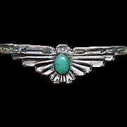 Vintage Sterling Native American FRED HARVEY Era Turquoise Thunderbird Brooch