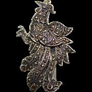 Vintage Estate Sterling Silver & Marcasite Peacock Brooch Pin Pendant