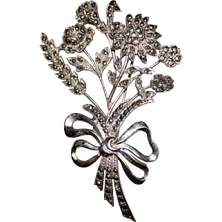 Beautiful Vintage 1940's Sterling Marcasite Floral Bouquet Brooch Pin, Flowers