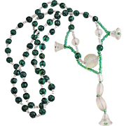 Art Deco Green & Frosted Glass Necklace, Seed Beads, Bell Shape