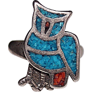 Vintage Sterling 1970's Crushed Inlay Turquoise Coral OWL Navajo Ring, Size 7