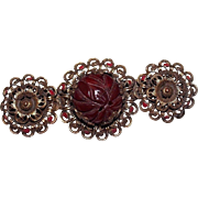 Art Deco Chinese Carved Carnelian Flower Filigree Enamel Brooch, Brass