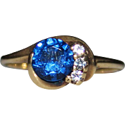 Vintage Blue SPINEL & White Topaz 10k Yellow Gold Ring, Size 6.25