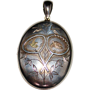Large Antique Victorian Aesthetics Sterling Silver Two Tone Gold Birds Locket