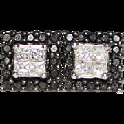 14K White Gold Black & White Diamond Stud Earrings, .72TCW