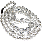 """Art Deco Graduated Faceted ROCK CRYSTAL Bead Necklace Sterling Clasp Knotted 26"""""""
