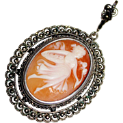 Lovely Vintage 800 Silver Cannetille Carved Cameo Shell Pendant
