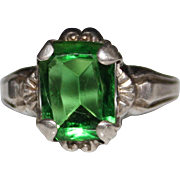 Art Deco Sterling Silver OSTBY BARTON Green Glass Emerald Cut Ring - Size 6.5