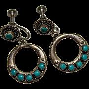 Vintage Fred Harvey Era Sterling Silver Snake Eye Turquoise Dangle Hoop Earrings