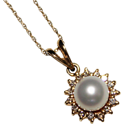 """14k Yellow Gold Cultured Pearl & Diamond Pendant Necklace, 7mm, .30CTW - 18"""""""