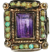 Vintage 1950's MATL Matilde Poulat Mexican Sterling Turquoise Amethyst Ring