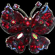 Vintage REGENCY Jewels AB Red Rhinestone Japanned Butterfly Brooch