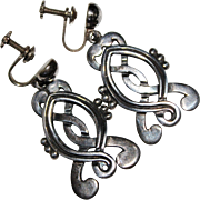 Vintage PEDRO CASTILLO Sterling Silver Aztec Design Dangle Screwback Earrings
