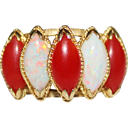 Estate 14k Yellow Gold Marquise Mediterranean Coral & White Opal Ring Size 6.75