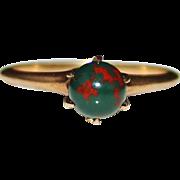 Antique Victorian Edwardian 14k Bloodstone Ring, Tiffany Claw Setting, Size 7
