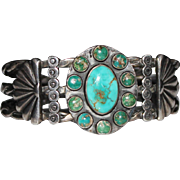Fred Harvey Era Sterling Snake Eye Turquoise Navajo Crossed Arrows Cuff Bracelet