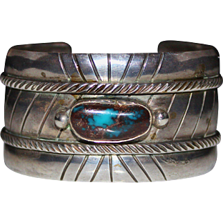 Wide Navajo Indian BISBEE Turquoise Sterling Silver Cuff Bracelet Signed, 65.4 G
