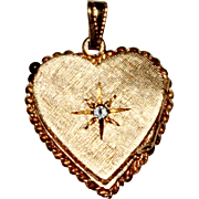 Vintage 14k Yellow Gold Etched Diamond Heart Locket, 3.4 Grams