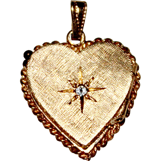Vintage 14k Yellow Gold Etched Diamond Heart Locket, 3.4 Grams