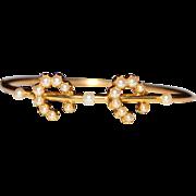 Antique Victorian 14k Yellow Gold Seed Pearl Double Horseshoe Bangle Bracelet