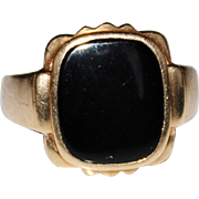 Men's Vintage 10k Yellow Gold Black Onyx Ring, Size 10, 6.1 Grams, B & S