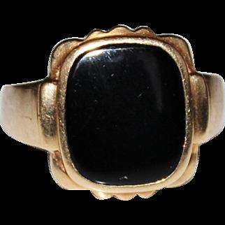 Men's Vintage 10k Yellow Gold Black Onyx Ring, Size 10, 6.1 Grams, B & S